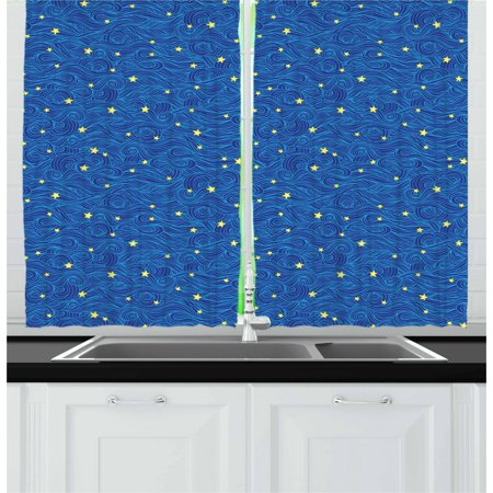 Dark Cloud 2 Halloween Theme (Starry Night Curtains 2 Panels Set, Stars and Clouds Pattern with Curves Galaxy Theme Heavenly Bodies, Window Drapes for Living Room Bedroom, 55W X 39L Inches, Blue Yellow Dark Blue,)