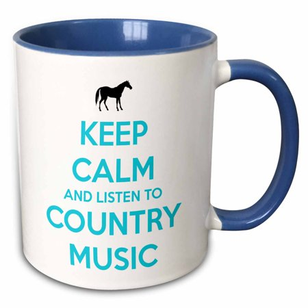 3dRose Keep calm and listen to country music. White and Turquoise. Horse. - Two Tone Blue Mug, 11-ounce (Turquoise Blue Coffee Mugs)