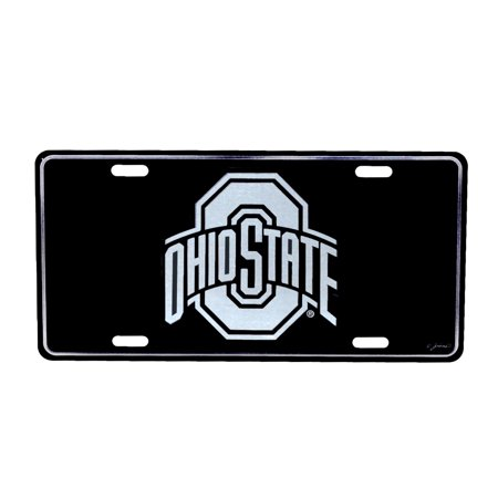 THE Ohio State University Black Mirrored License Plate OSU Buckeyes Car Auto Tag