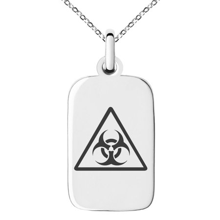 Stainless Steel Biohazard Triangle Engraved Small Rectangle Dog Tag Charm Pendant Necklace
