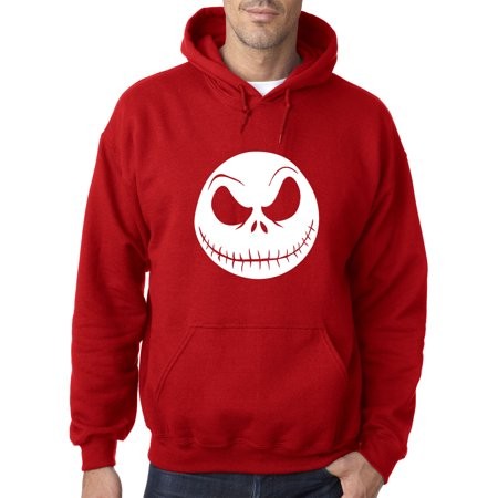 New Way 1122 - Adult Hoodie Nightmare Before Christmas Jack Skelleton Face Sweatshirt Large Red ()