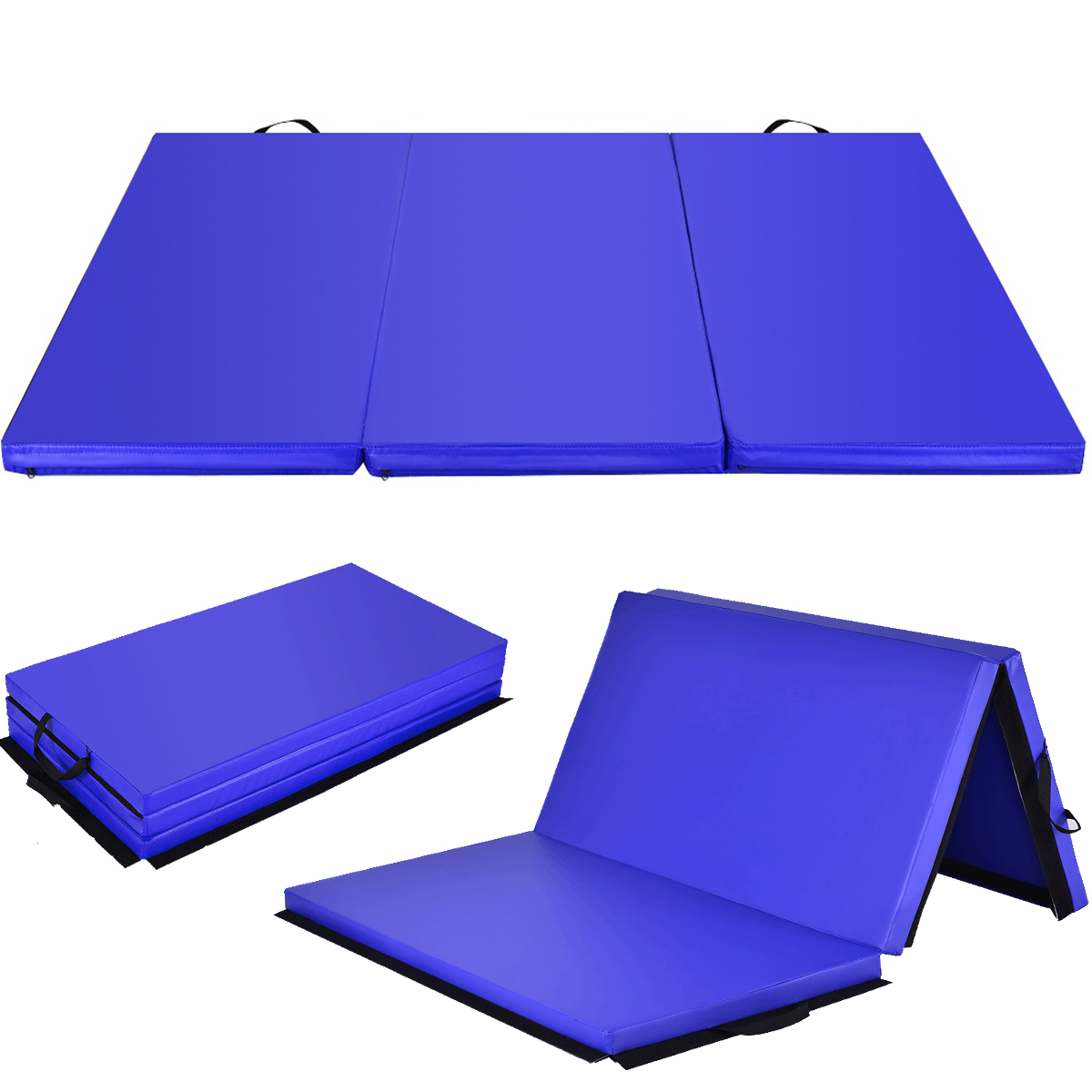 COSTWAY Blue Tri-Fold Gymnastics Mat 6X2 Folding Fitness Exercise W// Carrying Handles