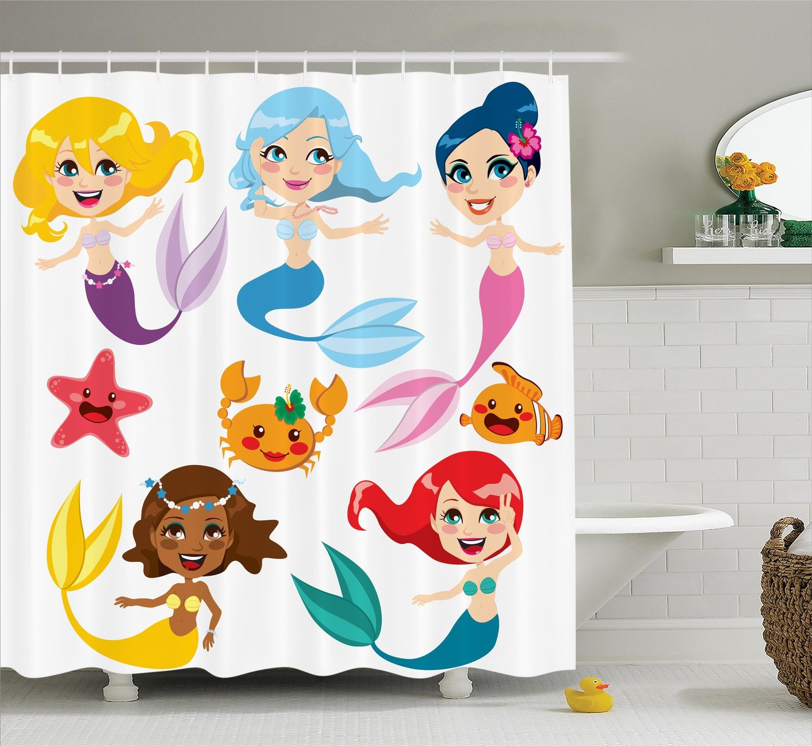 Mermaid Decor Shower Curtain Set, Collection Of Cute Colorful Mermaids And Sea Friends Kids Cheering Joyful, Bathroom Accessories, 69W X 70L Inches, By Ambesonne
