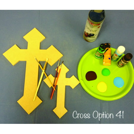Wooden Cross Cutout, 16'' Paintable Wood Cross, Unfinished Craft (41)