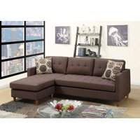 Poundex Polyfiber Reversible Sectional Sofa (Chocolate)