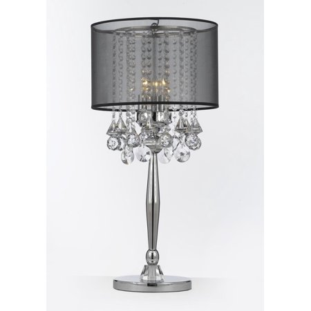 Silver Mist 3 Light Chrome Crystal Table Lamp with Black Shade Contemporary Modern Living Room,For