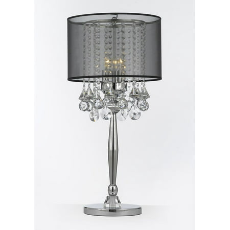 - Silver Mist 3 Light Chrome Crystal Table Lamp with Black Shade Contemporary Modern Living Room,For Bedroom