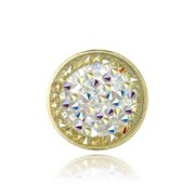 Yellow Gold Flashed Aurora Borealis Crystal Rocks Cluster Ring Made with Swarovski Crystals - Size 8