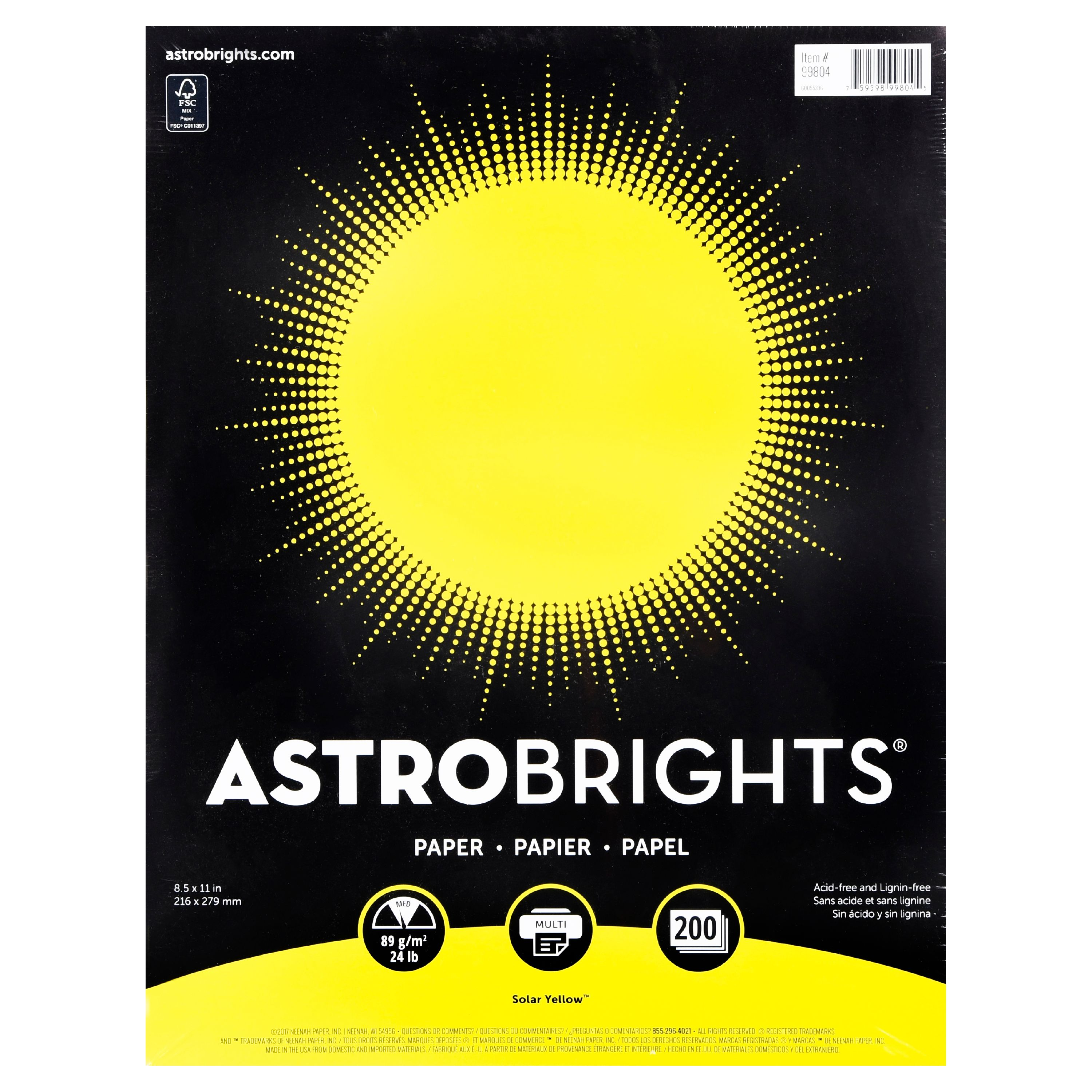 "Astrobrights Color Paper, 8.5"" x 11"", 24 lb/89 gsm, Solar Yellow, 200 Sheets"