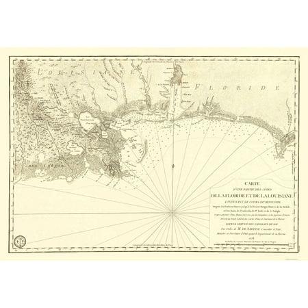 Old Travel Map - Florida and Louisiana Gulf Coast - Sartine 1778 ...