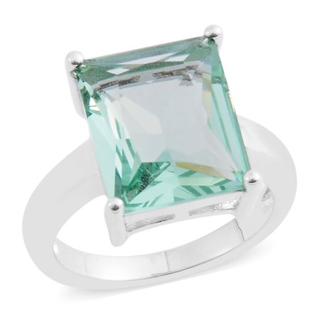 Simulated Green Amethyst Silvertone Solitaire Ring Gift Size 6.5 Cttw