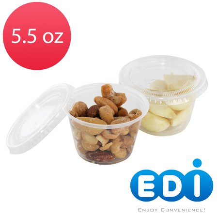 EDI Clear Plastic Disposable Portion Cups/Souffle Cup with Lids (100, 5.5 OZ)
