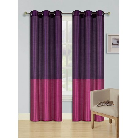 1pc PURPLE HOT PINK (EID) LINED FOAM BACKING BLACKOUT  Faux Silk Drape Panel Top Chrome Metallic Grommet Window Curtain Treatment Drape 2 Shade 37 wide x 63 length