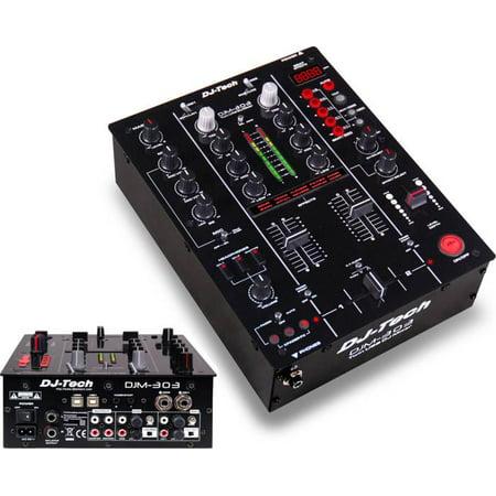 2 Channel Dj Mixer - Dj Tech DJM303 Professional 2-channel Dj Mixer W/ Integrated Usb Soundcard & 9 Dsp Effects [black]