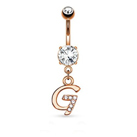 Bodyj4you Goldtone Rose Letter G Initial Dangle Belly Ring