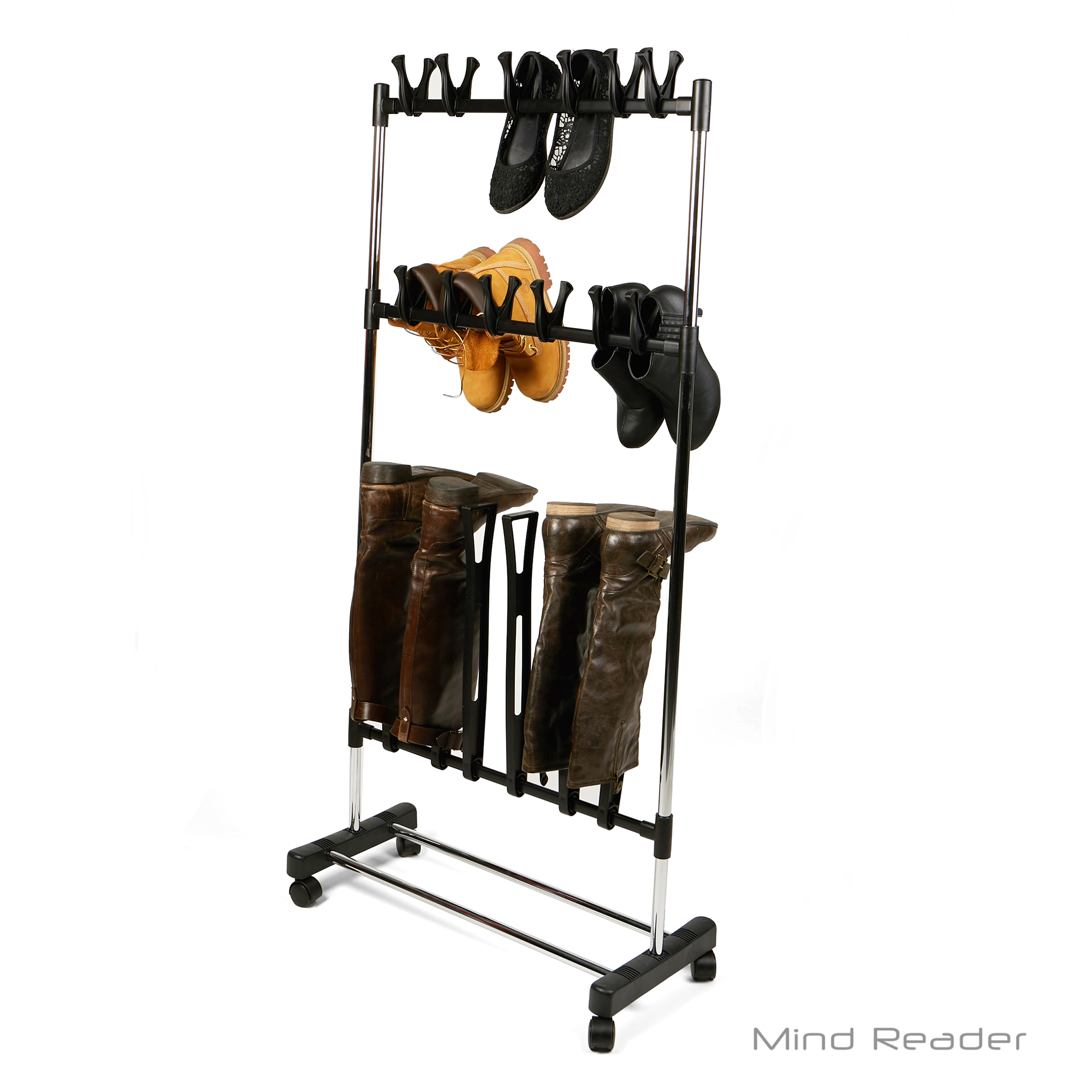 Mind Reader Shoe Rack Organizer, Boot Rack, Rolling Footwear Holder, Shoe Organizer Stand, Black