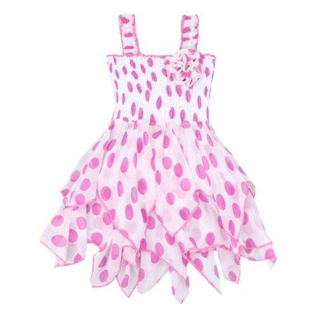 Lele For Kids Girls Light Pink Polka Dot Waterfall Ruffled Dress 7/8 for $<!---->
