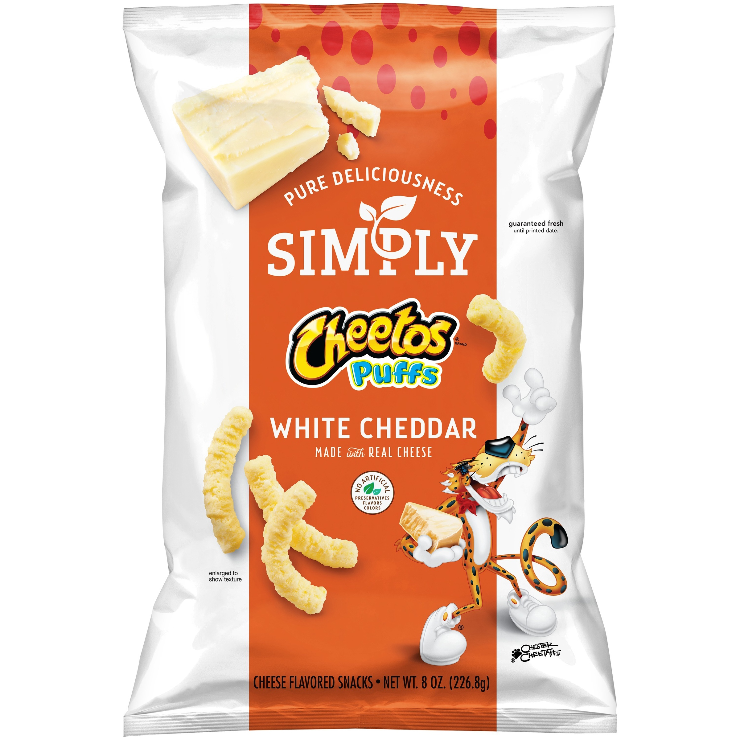 Simply Cheetos Puffs Cheese Flavored Snacks, White Cheddar, 8 Oz