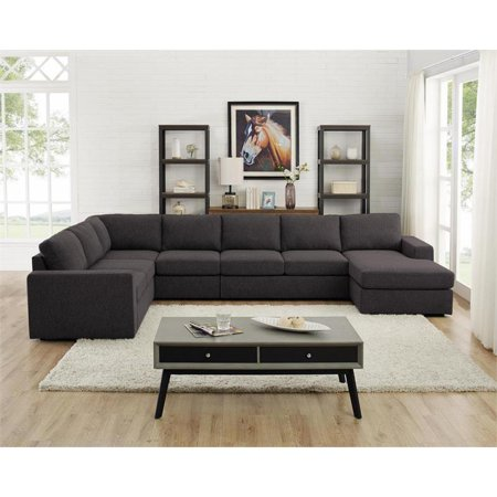 Bowery Hill Modular Sectional Sofa With Reversible Chaise In Dark