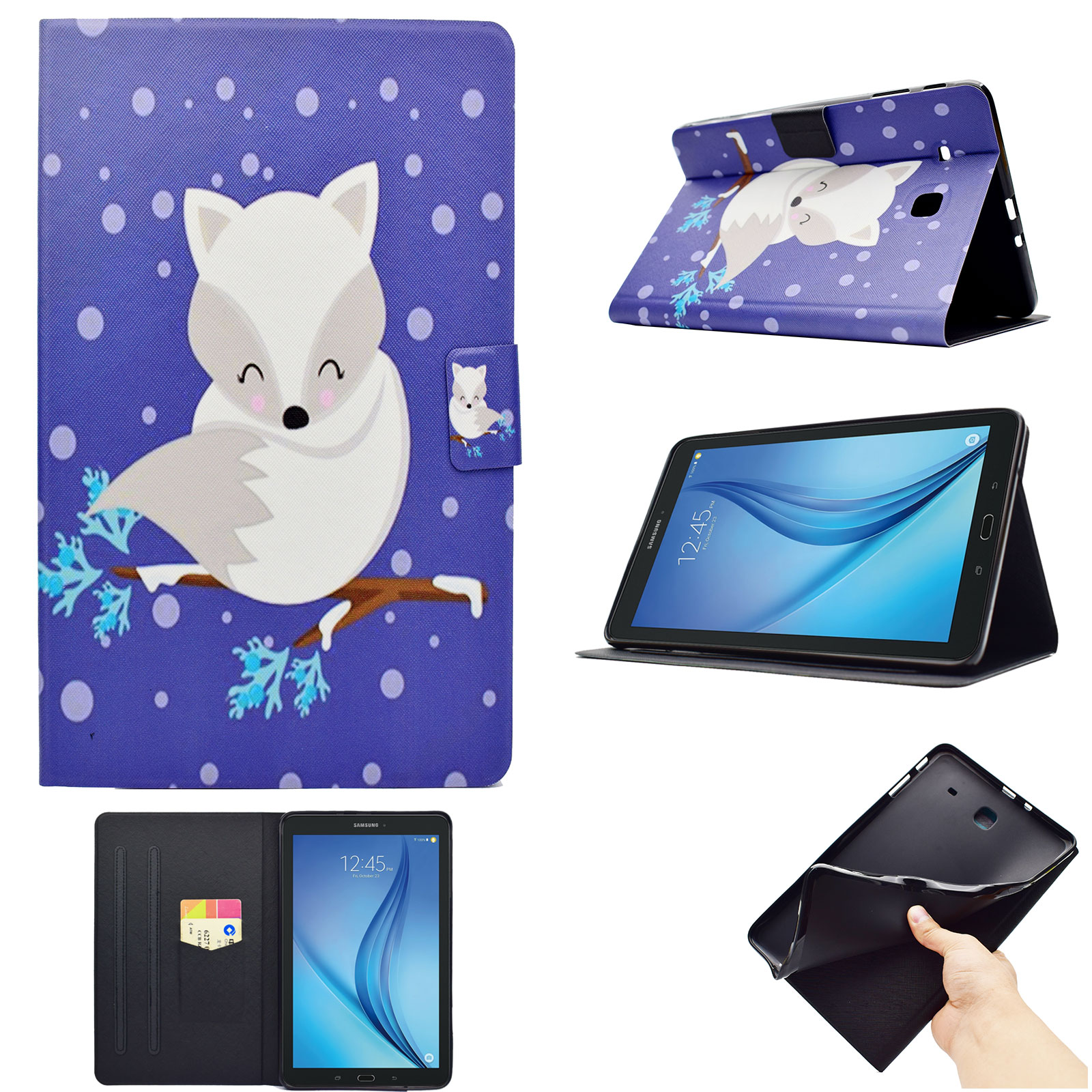Galaxy Tab E 9.6 Folio Case, Goodest PU Leather Flip Folio Kids Friendly Case with Card Slot & Mutiple Angle Viewing Stand for Galaxy Tab E 9.6 T560 2015 Tablet (Not Fit SM-T560NU), White Fox