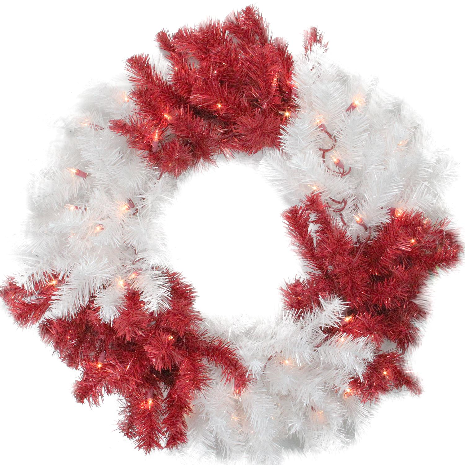 """Allstate 29"""" Peppermint Twist Red and White Tinsel Christmas Wreath - Clear Lights"""