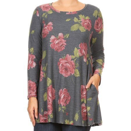 492420ddcc8 BNY Corner - BNY Women Plus Size Long Sleeve Floral Pattern Pocket Tunic  Knit Top Tee Charcoal XL B517 FLO - Walmart.com