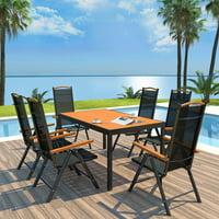 Outdoor Dining Set 7 Pieces Aluminum WPC