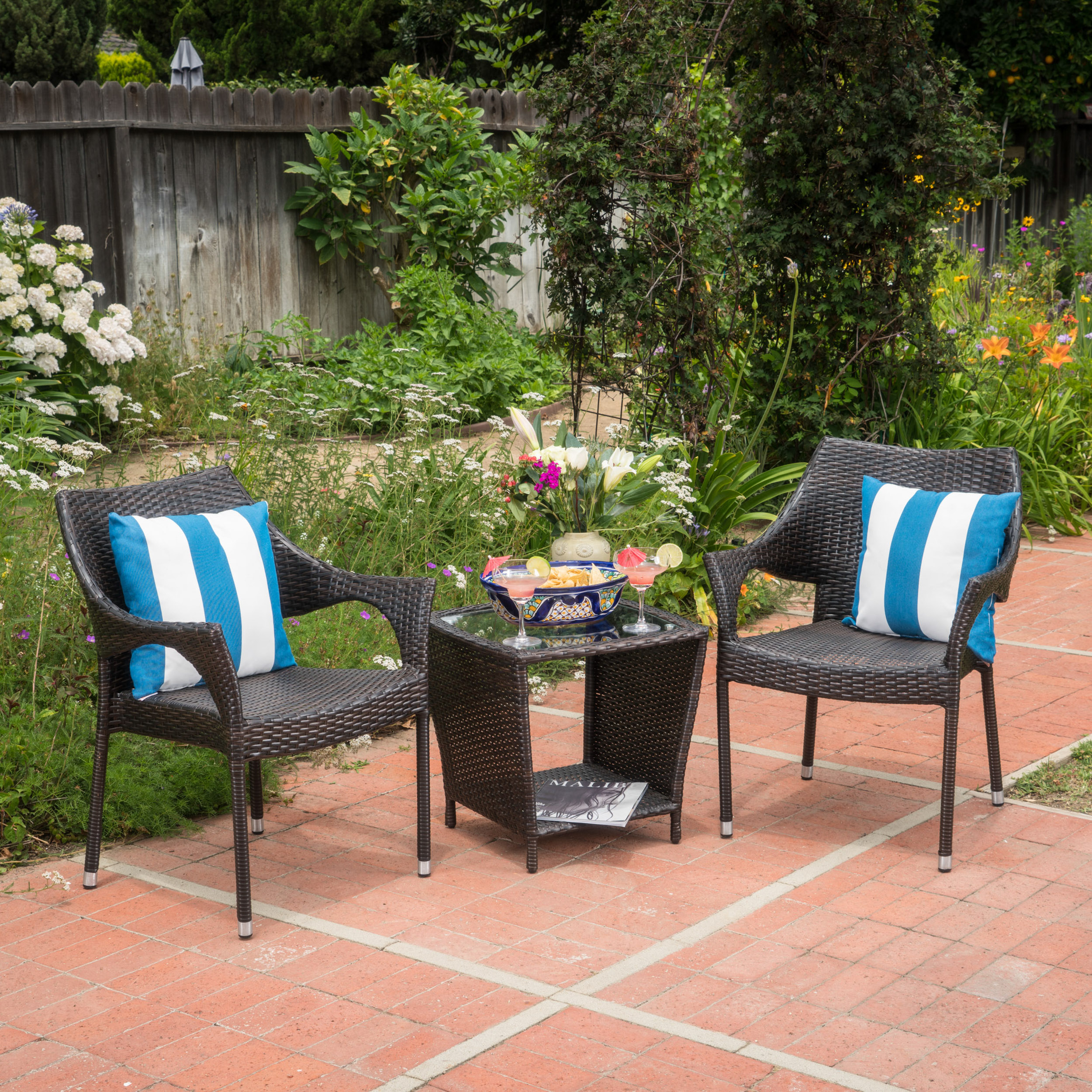 Addison Outdoor 3 Piece Wicker Stacking Chair Chat Set, Multibrown