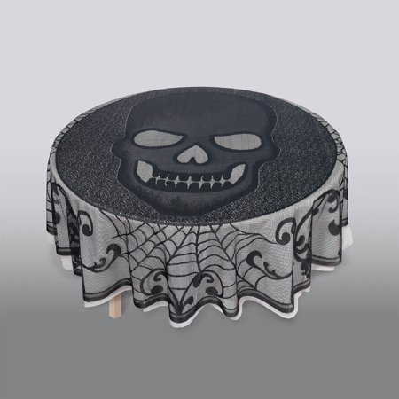 Skull Lace Round fabric Tablecover Halloween Decoration