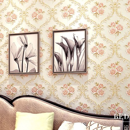 HALLOLURE 21'' x 374'' 3D Effect Flower Wallpaper Wall Decal Wallpaper Roll Brick Wallpaper Non-woven fabric Mural Bedroom Living Room Home Decoration