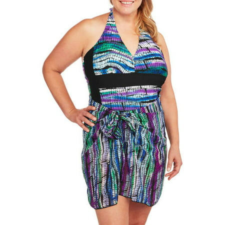 3c7b56b581d Women s Plus-Size Halter One-Piece Swimsuit with Matching Sarong -  Walmart.com