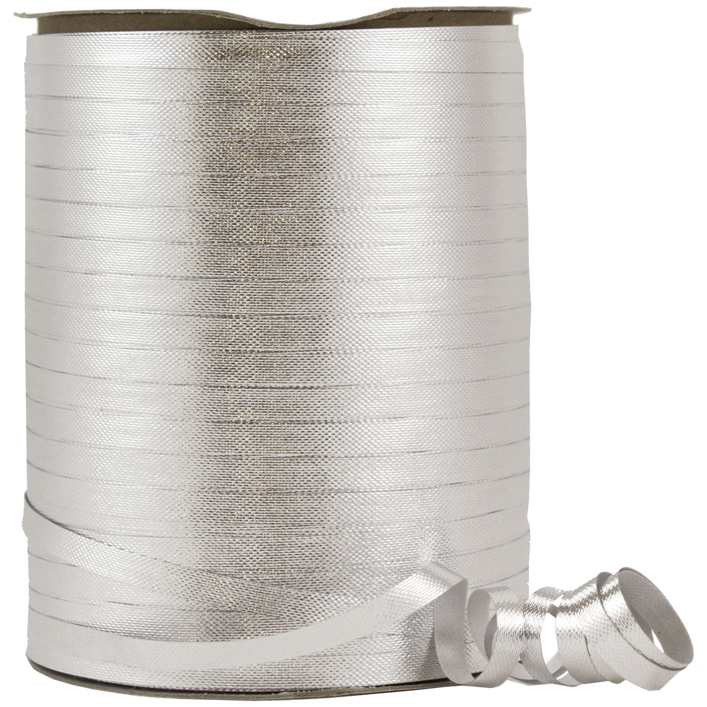 JAM Paper Curling Ribbon, 300 feet, Silver,12/pack
