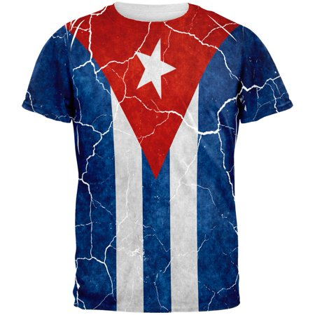 Distressed Cuban Flag All Over Mens T Shirt (Cuban Clothing)