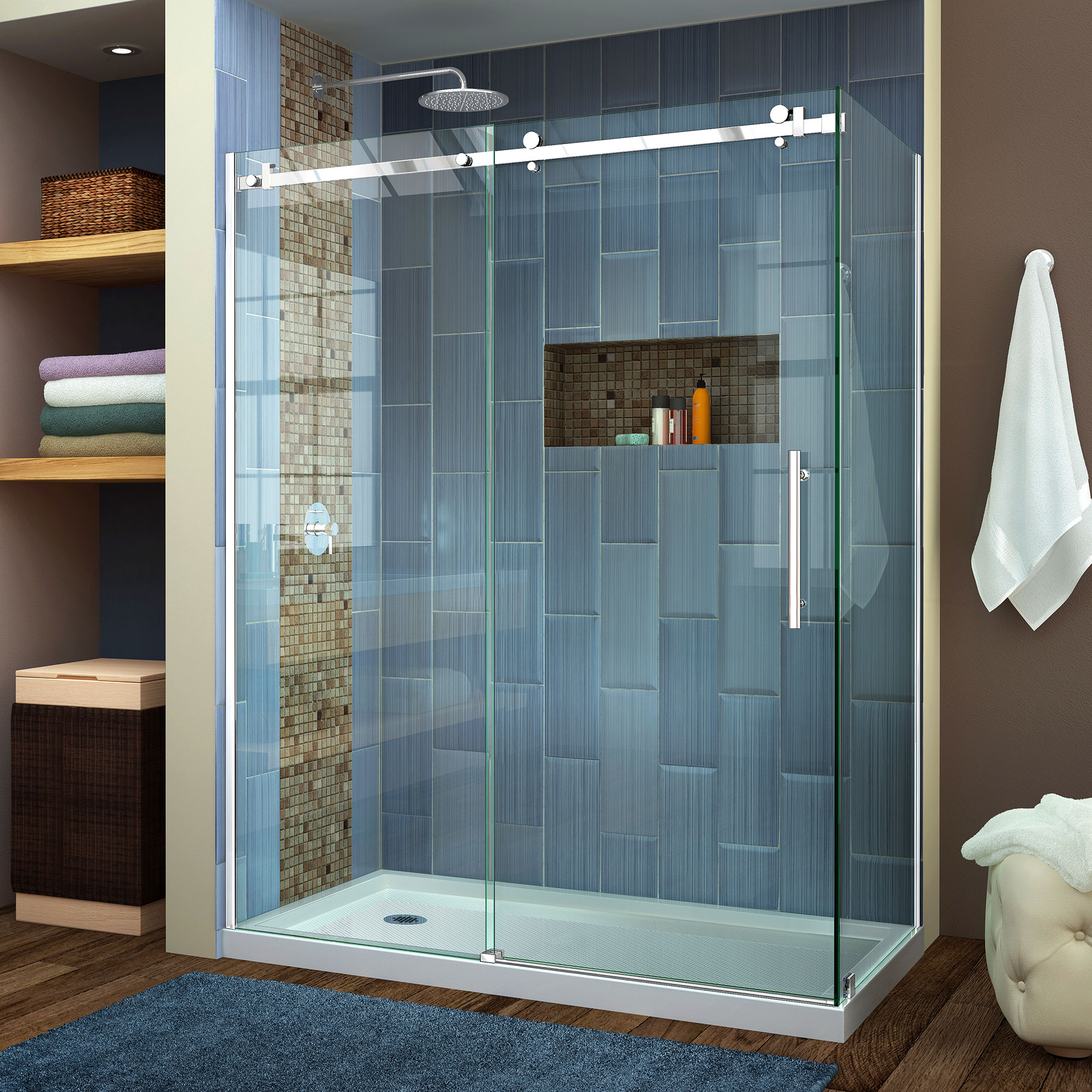 DreamLine Enigma Air 34 3/4 in. D x 60 3/8 in. W x 76 in. H Frameless Sliding Shower Enclosure in Brushed Stainless Steel