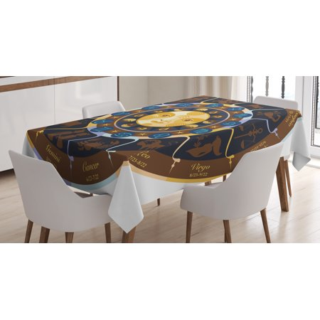 Astrology Tablecloth  Aries Taurus Gemini Cancer Leo Virgo Libra Scorpio Horoscope Signs  Rectangular Table Cover For Dining Room Kitchen  60 X 84 Inches  Brown Yellow And Blue  By Ambesonne