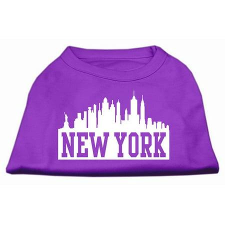 New York Skyline Screen Print Shirt Purple XL 16