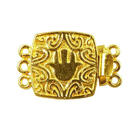 CG-441 18K Gold Overlay Multi Strand Clasp With 3 Holes 3 Strand Hook Clasp
