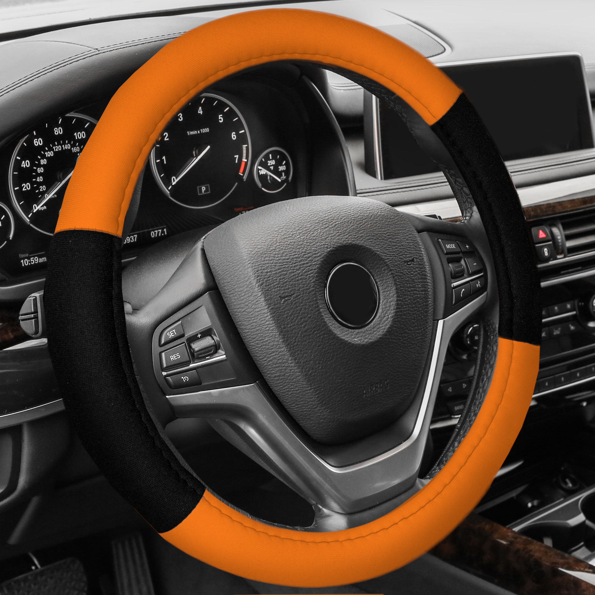 FH Group Cloth Steering Wheel Cover for Sedan, SUV, Van, Cloth Steering Wheel Cover, Orange Black