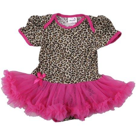 Wenchoice Girl'S Hot Pink Leopard Tutu Bodysuit L(18-24M)