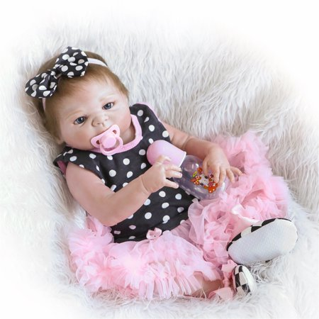 Reborn Baby Doll Soft Silicone vinyl 22inch 55cm Lovely Lifelike Cute Baby Birthday gift Christmas gift (Cute Doll Halloween Makeup)
