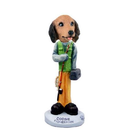 No.Doog60A29 Dachshund Longhaired Red Fisherman Doogie Collectable Figurine