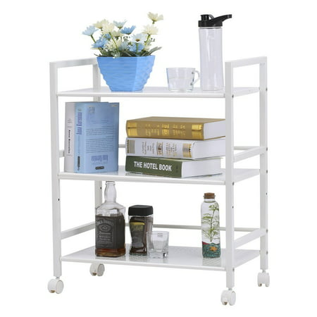 LANGRIA 3-Tier Wire Mesh Rolling Cart for Serving Utility ...