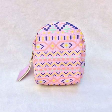 Mini Backpack Geometrical Print Coin Purse PU Leaher Card Key Holder Mini Wallet