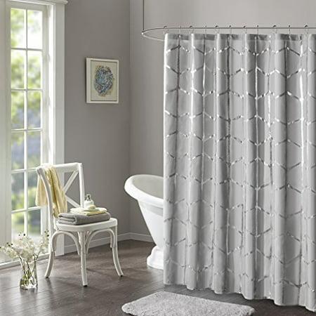 "Raina Printed Metallic Shower Curtain 72x72""/Grey - image 1 of 1"