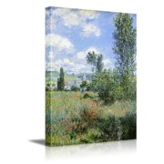 Wall26 - View of Vetheuil by Claude Monet - Impressionist Modern Art - Canvas Art Home Decor - 16x24 inches