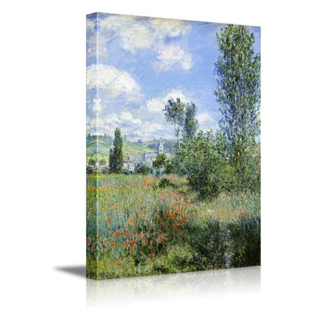 Impressionist Canvas Art (Wall26 - View of Vetheuil by Claude Monet - Impressionist Modern Art - Canvas Art Home Decor - 16x24 inches)
