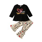 Toddler Kid Girl Outfits Valentine's Day Clothes T-shirt Tops Dress Pants Set