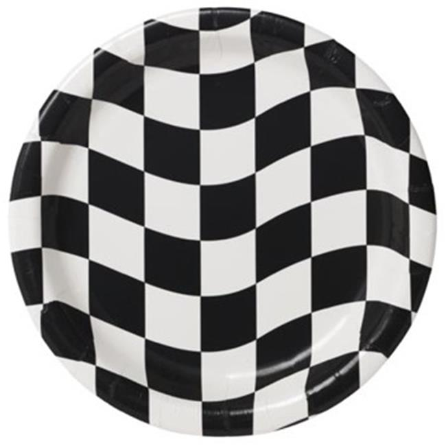 Hoffmaster Group 419944 7 in. Race Theme Party Luncheon & Dessert Plates - 8 per Case - Case of 12