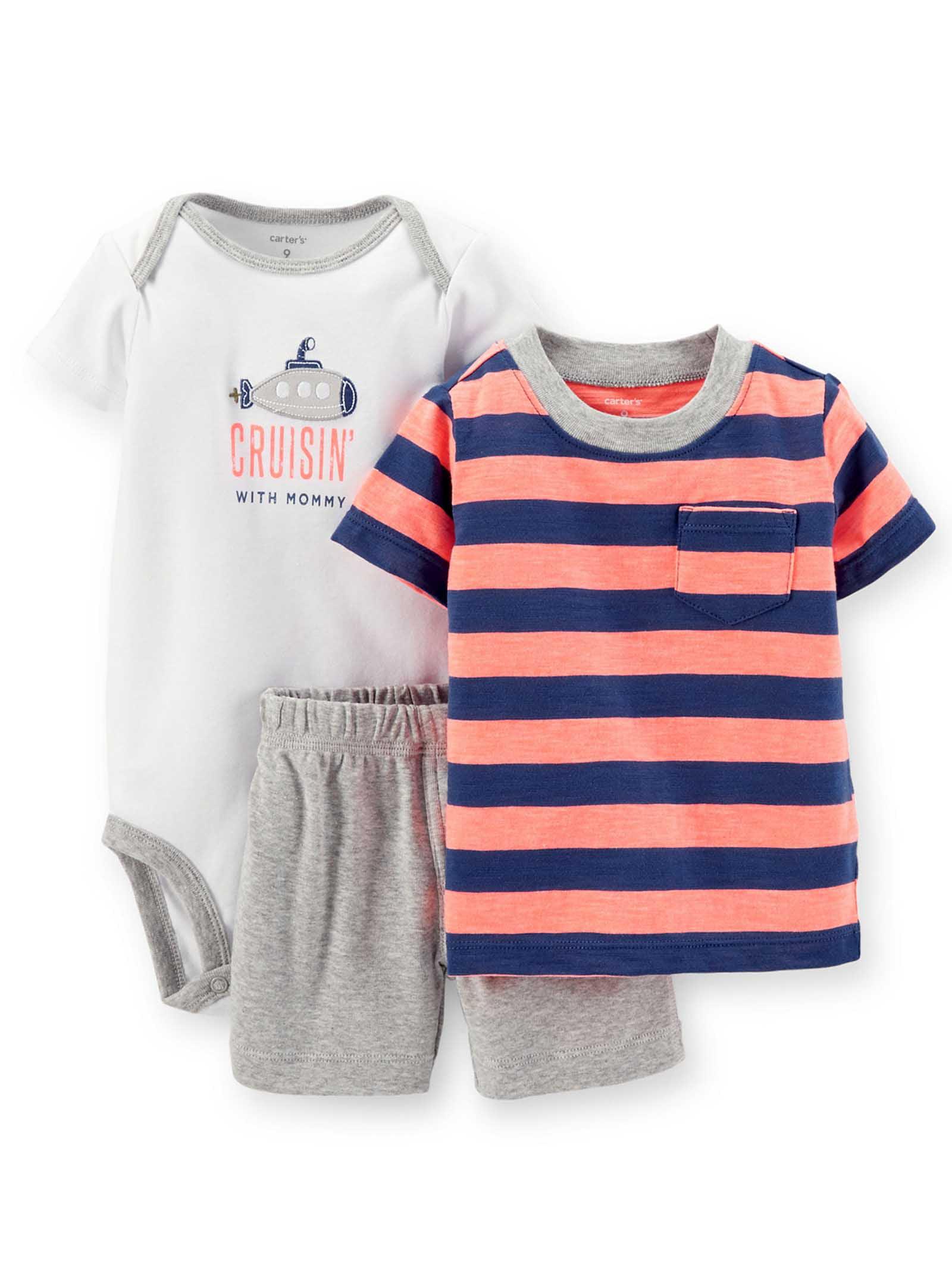 Carters Baby Boys 3 Piece Cruisin' Tee, Bodysuit and Shorts Set