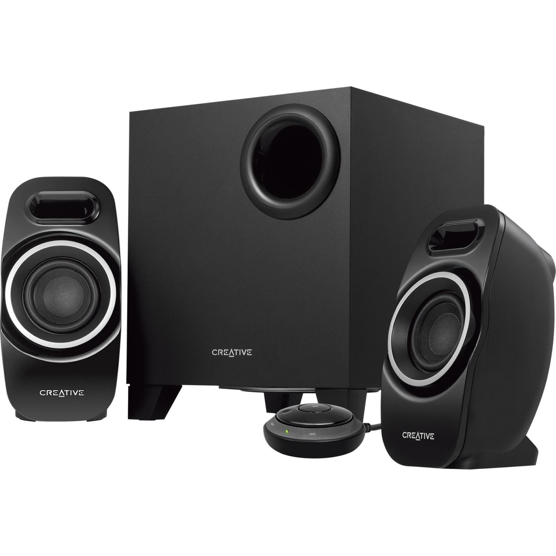 Creative T3250 2.1 Speaker System - Desktop - Wireless Speaker[s] - Black - Bluetooth - Dual Slot Enclosure [dse], Image Focusing Plate [ifp], Wireless Audio Stream, Control Pod, (51mf0450aa003_25)